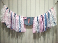Free Shipping Cowboy Themed Highchair Buntings Kids First Birthday Party Decoration Lace Fabric Denim Combined Twine Tired Rags