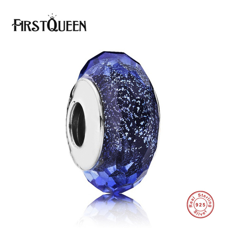 FirstQueen 100% Real 925 Sterling Silver Blue Fascinating Iridescence Murano Charm Beads Fashion Jewelry Charms Fits Bracelets