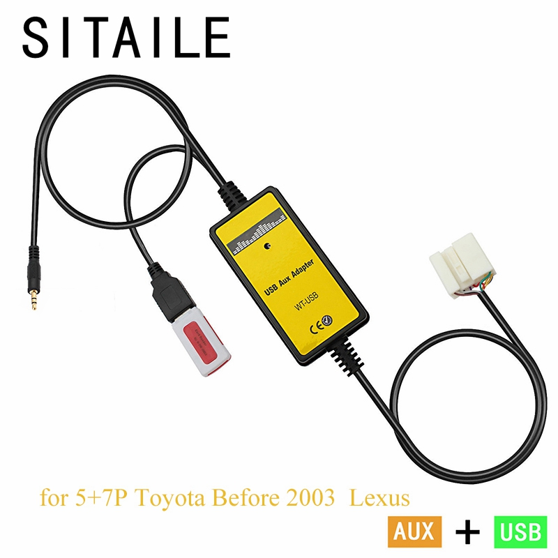 SITAILE автомобиль 5 + 7 p Интерфейс адаптер машина для Toyota Corolla Scion Camry Yaris Lexus IS GS USB AUX mp3 музыка CD-плееры