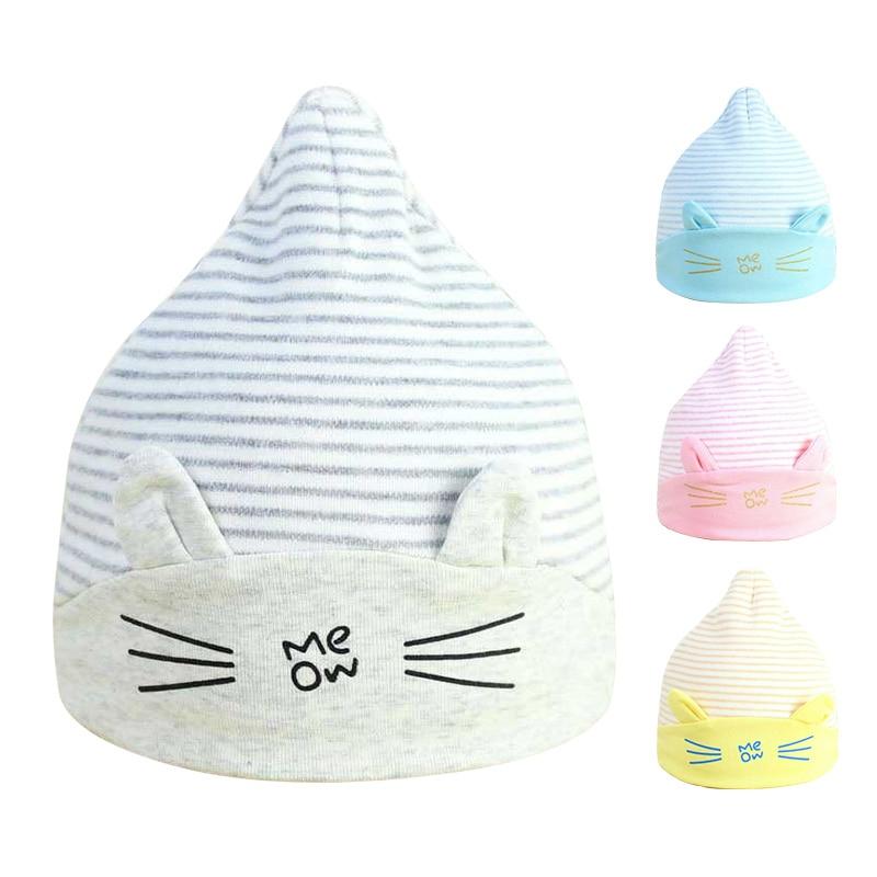 Cute Cat Newborn Baby Hat Bavlna Cartoon Pruhované Měkké - Oblečení pro miminka