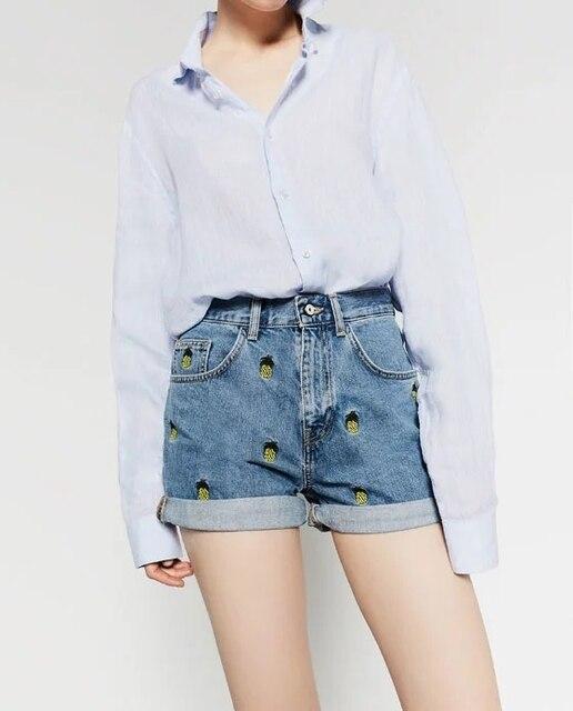 Novo 2016 moda feminina Denim Shorts Ladies Casual abacaxi bordado Pantalon Corto