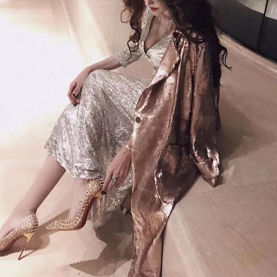 Giubbotti Paillettes Apri C Celebrità Cappotto Gold Sexy Nuove Stitch 2018 Amily Oro Cappotti Del Molla Partito Della Donne Club Fashion Abiti nYqgnWPxB