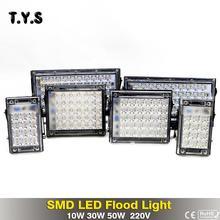 ФОТО Ultrathin Bright SMD LED Flood Light 50W 30W 10W 220V IP65 Waterproof Floodlight LED Spotlight Garden Wall Lamp Outdoor Lighting