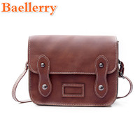 2017 Baellerry Vintage Simple Style Girl Messenger Shoulder Bags Solid Chic Rivets Female Crossbody Bag Preppy Style Lady's Flap
