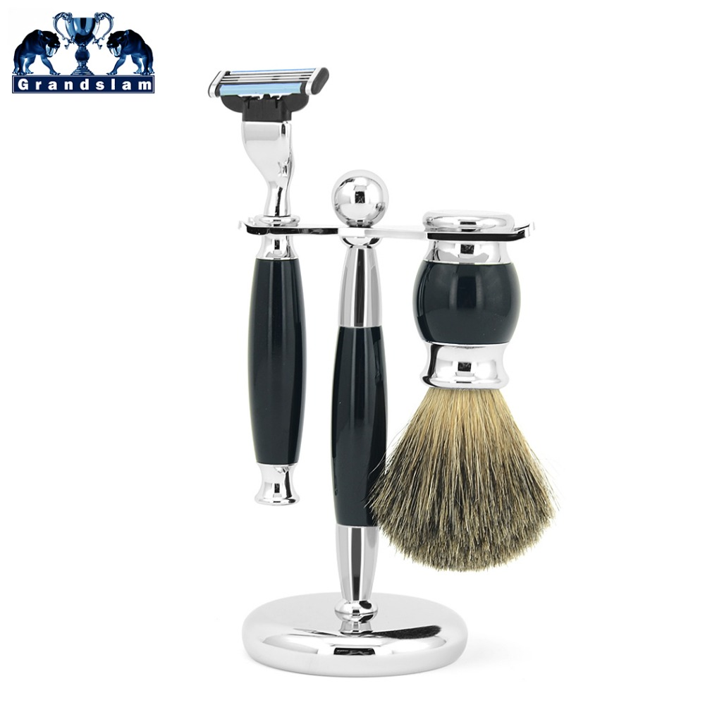 Grandslam Men 3 Blade Safety Razor Shaving Set Shave Beard Badger Hair Brush Holder Razor Set High Quality Offer Dropshipping