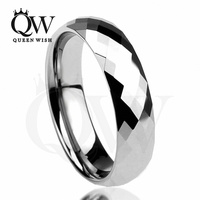 Queenwish 5mm Multi Faceted Prism Cut Tungsten Carbide Comfort Fit Engagement Wedding Rings Band Comfort Fit