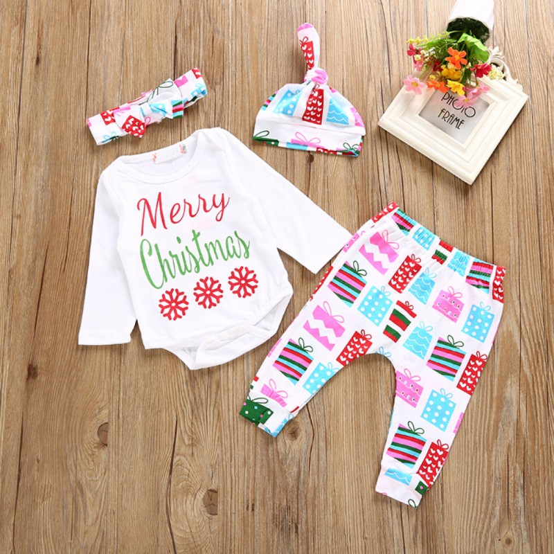 0-24M Baby Clothing Set Newborn Baby Boys Girls Merry Christmas Bodysuit+Color ful Pants+Hat+Belt Outfits Clothes Sets 4PCS