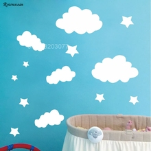 ФОТО stars & clouds wall decals nursery vinyl wall stickers for baby room decoration kids wall decals diy k516