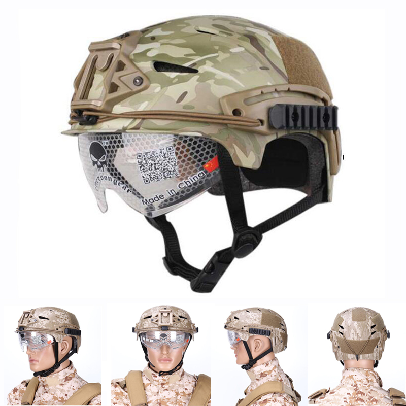 Good Military Equipment Tactical Helmet Airsoft Sports Protective Helmets Paintball Combat Helmet With Goggles CS Wargame Mask military tactical helmet airsoft paintball sports gear head protector and hunting with night vision sport camera mount