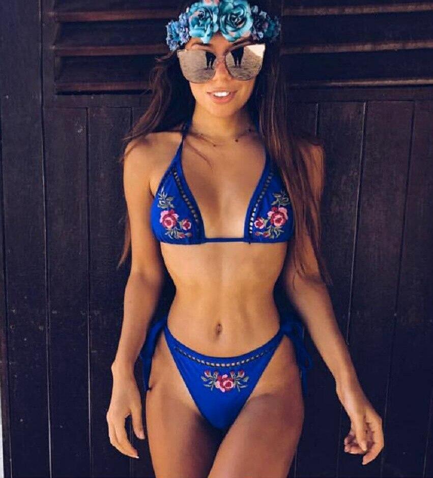 Hot Sales Printed Blue Strappy Halterneck Bikini Swimsuit Tankini Two Pieces Bathingsuit Beachwear Summer Maillot