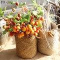YO CHO Artificial Flower Artificial Fruit High-end Vivid Apples Foam Fake Plants For Garden Home Xmas Decor Artificial Fruit