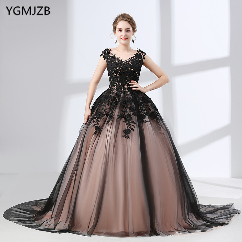 Arabic Style Evening Dresses Long Puffy 2018 New Arrival Ball Gown V Neck Lace Tulle Black Women ...