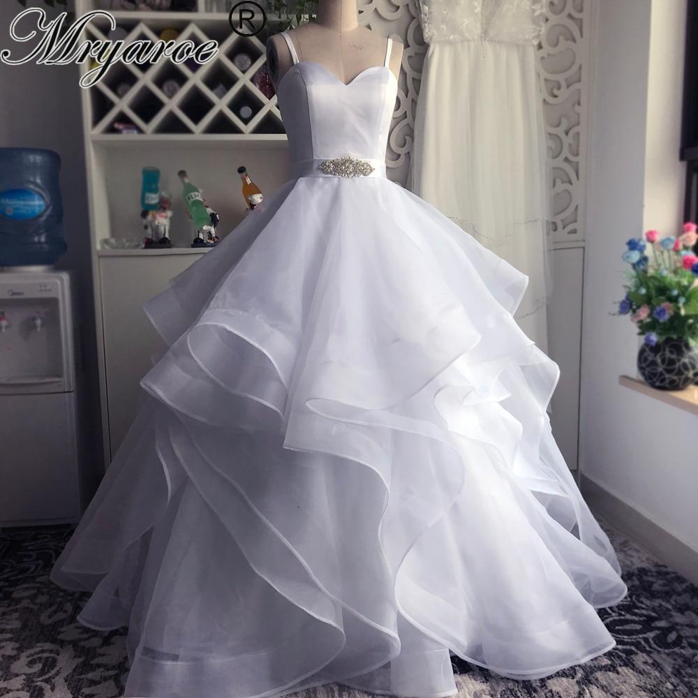 Ruffle Ball Gown Wedding Dress: Mryarce Spaghetti Straps Sweetheart Organza Ruffle Skirt