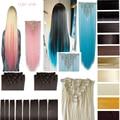 """26 """"(66 cm) 170g Reta 8 pçs/set Cabeça Cheia Grampo em extensões Do Cabelo Cor Do Cabelo Roxo Azul Rosa Loiro Castanho Cinza Sintético cabelo"""