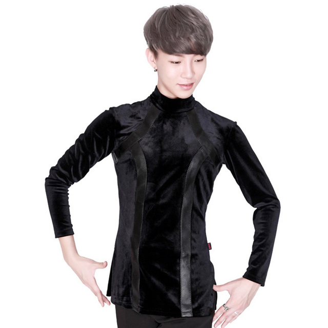 Latin Dance Top Velvet Shirts For Men Long Sleeve High Collar Male Latin Dancing Competition Costumes Performance Wear DN2632