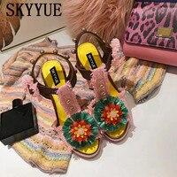 SKYYUE 2018 New Genuine Leather Floral Pearl Beading Women Summer Sandals Open Toe Platform Chunky Heel Ladies HIgh Heels Shoes