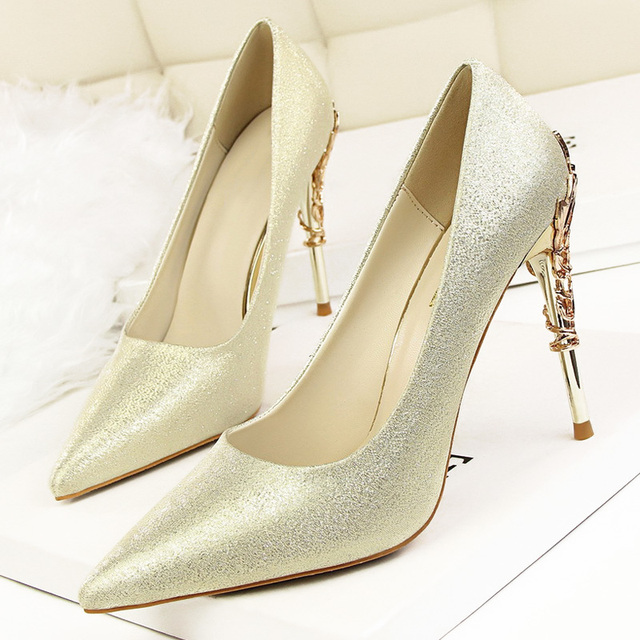 LAKESHI Sexy High Heels Shoes Woman Fashion Women Pumps Wedding Shoes Red Bling Gold Shoes Famale Party Women Heel Shoes