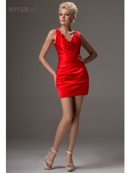 Red Elegant Cocktail Dresses Sheath V-neck Short Mini Backless Sexy Plus Size Party Homecoming Dresses
