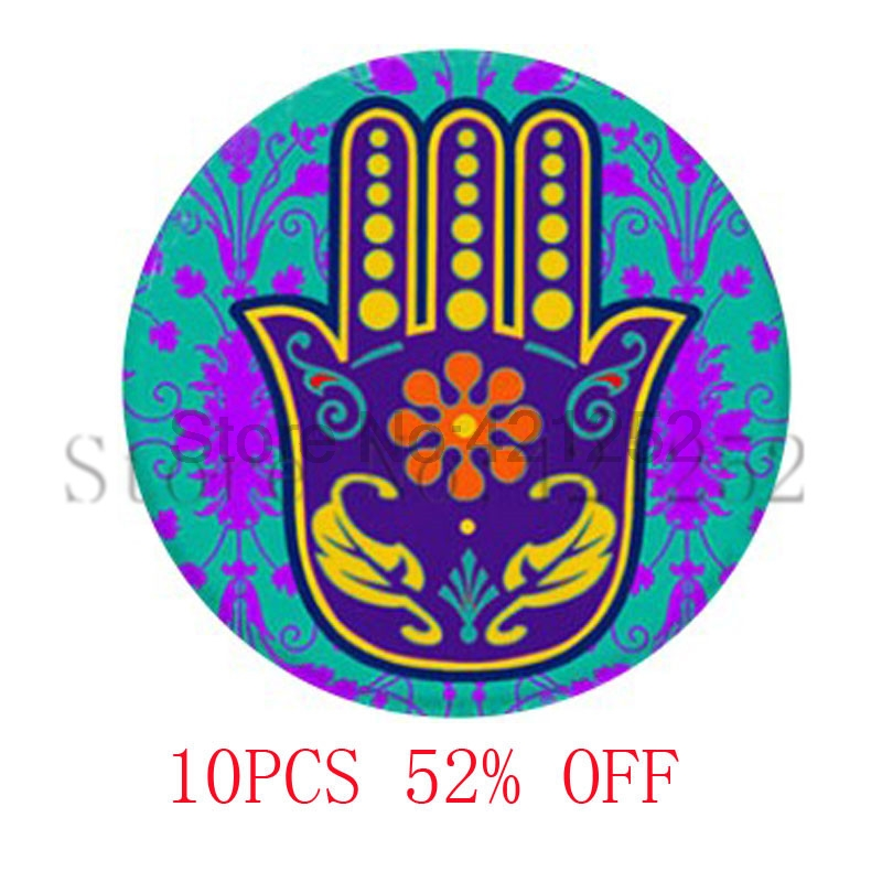 Hamsa Hand Protection Pendant good Fortune Charm glass cabochon dome pendant necklace keyring bookmark cufflink earring