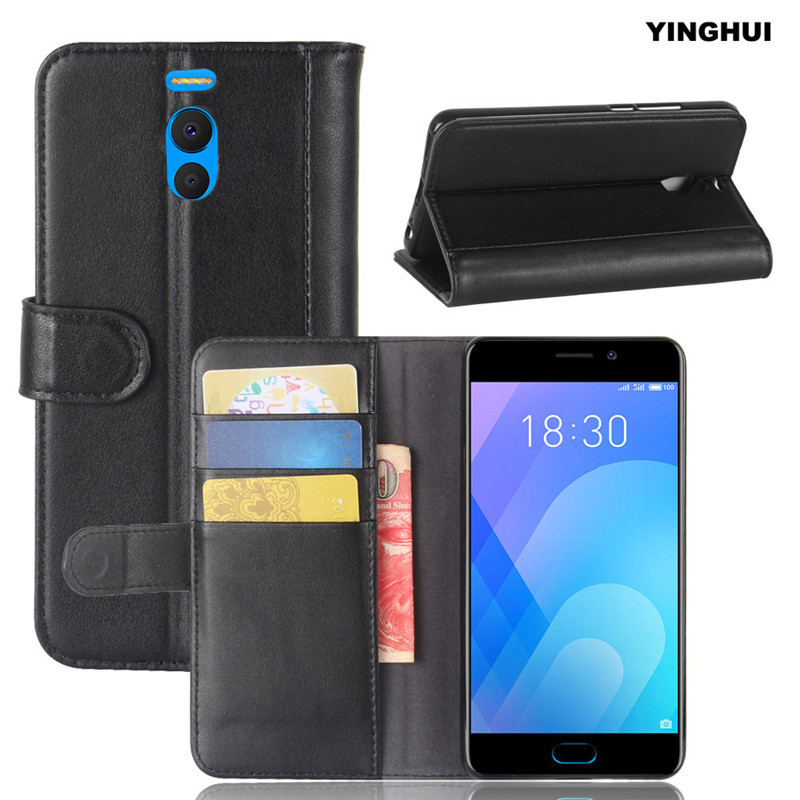 YINGHUI Genuine PU Leather Case Fundas Wallet Pouch Flip Stand Skin Back Cover for Meizu Meilan Note 6 Coque Phone Shell M6 Note