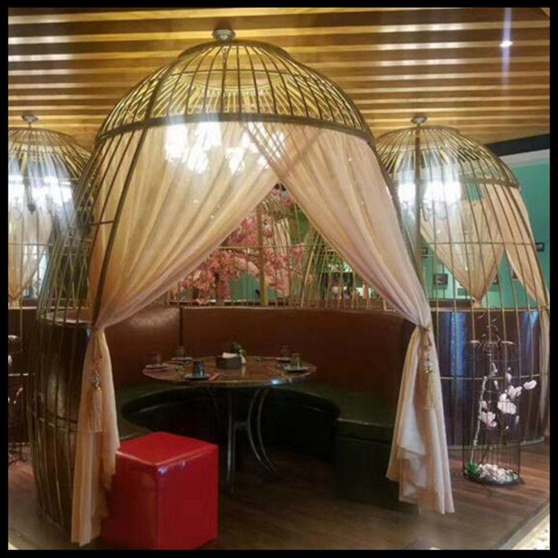 1 pièces fer forgé cage à oiseaux décoration ameublement pot chaud magasin restaurant oiseau cage carte siège extérieur grande surdimensionné cage à oiseaux