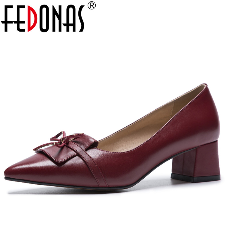 FEDONAS Womens High Heels Genuine Leather Pumps Sexy Ladies Bowtie Wedding Party Shoes Woman Sweet Prom Female Office Pumps sitemap 2 xml