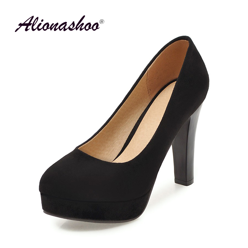 2019 Spring/Autumn Large Size 43 Black Shallow Platform High Heels Women Shoes Fashion Round Toe Square Heel Pumps For Ladies