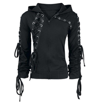 Kinikisss 2019 Gothic Women Hoodies Lace up Hooded Long Sleeve Casual Darkness Autumn winter Goth Black Sweatshirt Plus Size