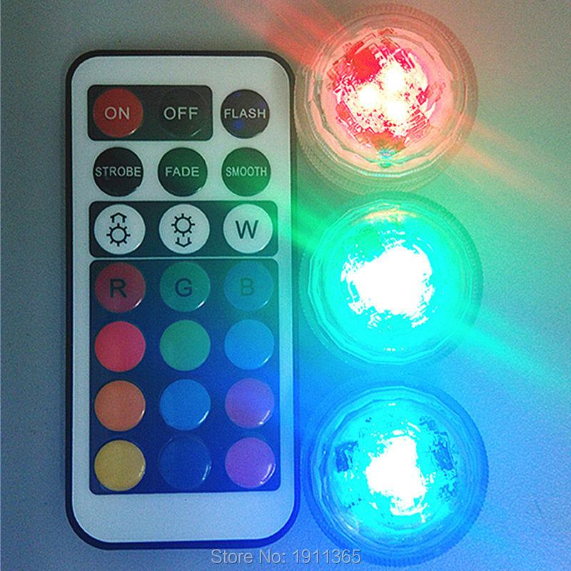 40 pcs Dekorasi Pernikahan Remote Control Tahan Air Submersible LED Party Tea Mini Cahaya Dengan Baterai Untuk Vas Natal
