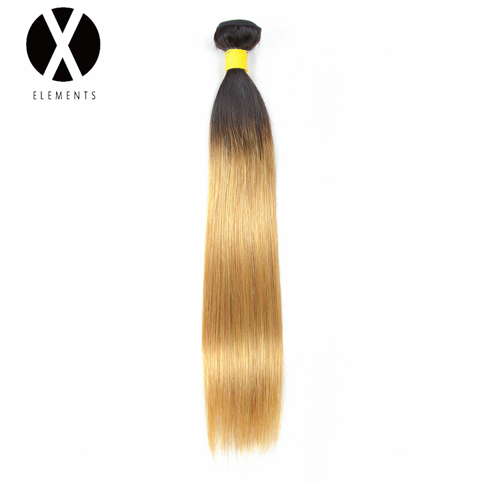 X-Elements Pre-colored Human Hair Bundles T1B/27 Straight Hair Weaves 1 Bundles Brazilian Non-Remy Hair Extensions