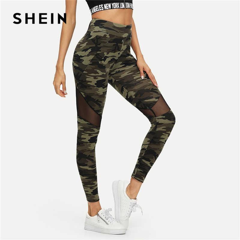 9955cfd566f0 SHEIN Multicolor Mesh Insert Camo Print Leggings Sporting Patchwork Sheer  Crop Pants Women Autumn Athleisure Leggings