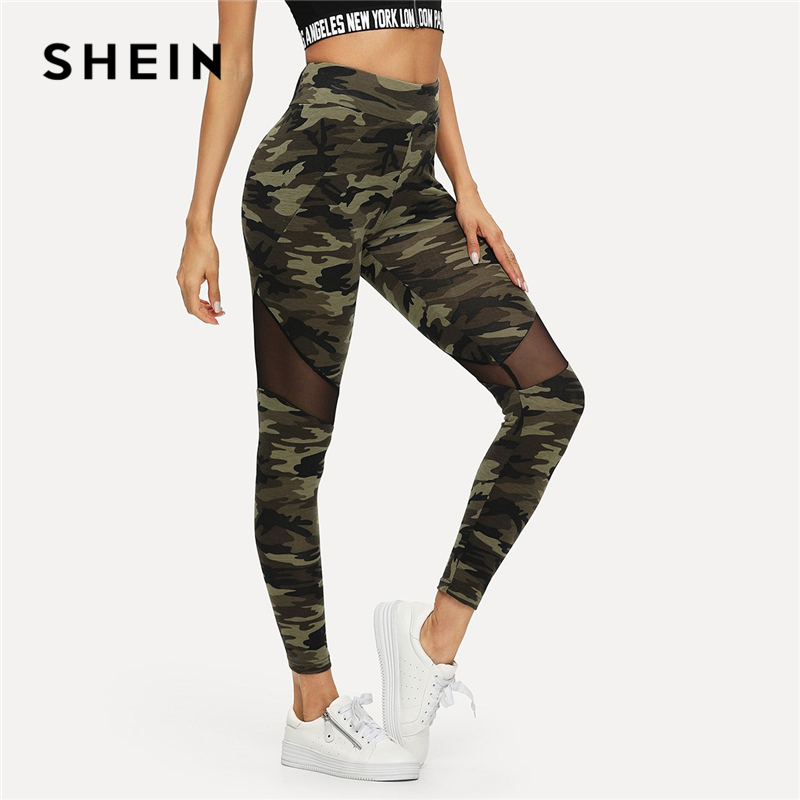 SHEIN Multicolor Mesh Einsatz Camo Print Leggings Sporting Patchwork Sheer Crop Hosen Frauen Herbst Freizeitsport Leggings