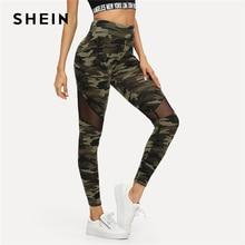 Leggings deportivos Patchwork de Mujer  SHEIN Multicolor de malla de Camo Pantalones otoño Athleisure Pantalones
