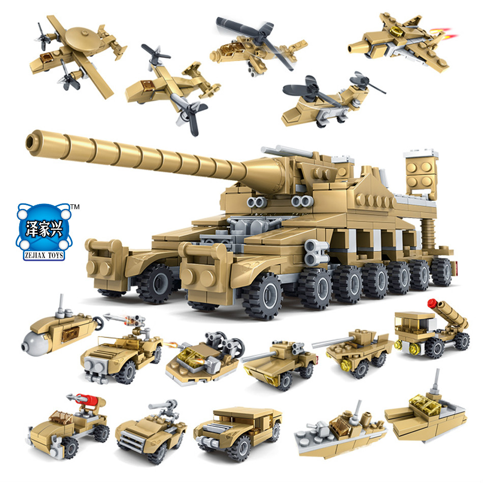 16in1 Building Blocks Set Military Field Soldier Toy Vehicle Super KAZI Tank Army Toys for Children Compatible Lepins DIY Model large military 8 in1 747pcs 8 figures building blocks tank warship army war toys for children constructor set compatible lepin