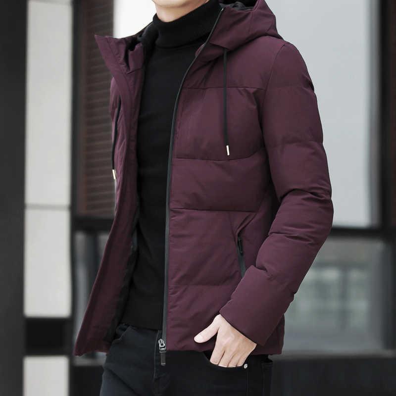 ... Зимняя куртка мужская одежда 2018 Повседневная воротник-стойка с капюшоном  воротник модное зимнее пальто Мужская ... bbb724a9a7d