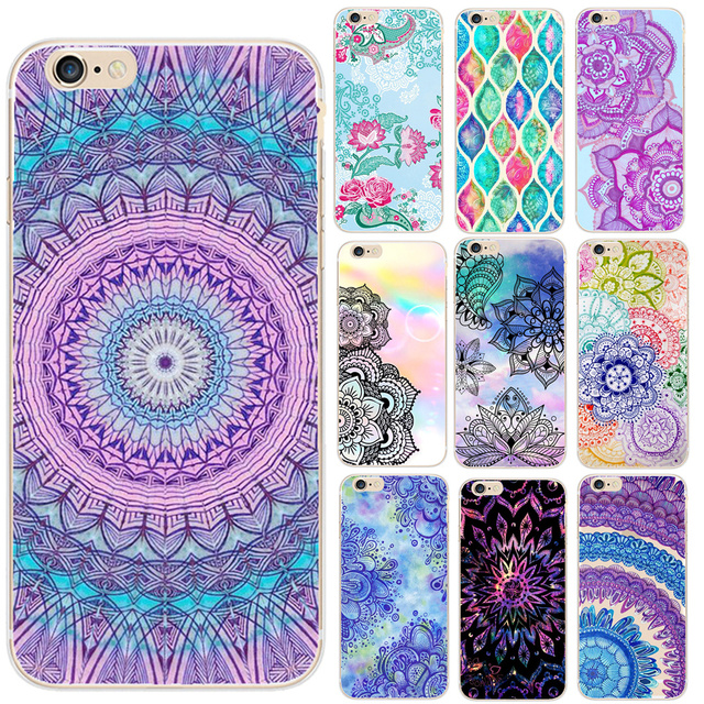 huge selection of 5ae04 88ee9 US $1.03 30% OFF|Rainbow Mandala Phone Case For iPhone X 5 5S SE 6 6S 7 8  Plus Mandala Flower Datura Floral Cell Phone Cases Back Cover Capa-in  Fitted ...