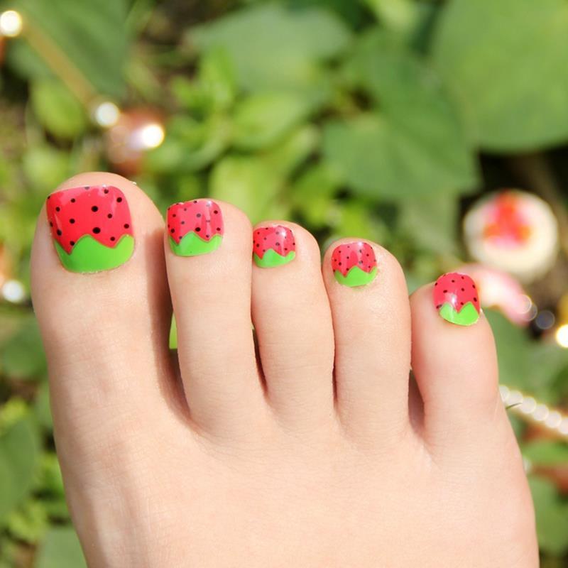 Uñas falsas arte hojas verdes rojo fresa acrílico falso uñas de ...