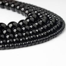 Ланьли 4/6/8/10/12 мм черный стеклянные бусины модные натуральный камень разбросаны шарики DIY браслет neckace аксессуары делают