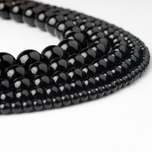 LanLi 4/6/8/10/12 мм черный бисер Мода натуральный камень Бусины насыпью DIY браслет neckace аксессуары делают