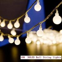 10M 50LEDs Mini Ball Global LED String Light EU 220V Warm White Twinkle Color Change Waterproof