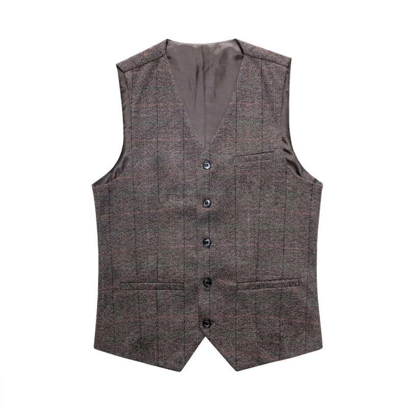 Classic Vest Collections Men Vest For Suit England Retro Plaid Waistcoats Casual Slim Wedding Vests Man Clothing