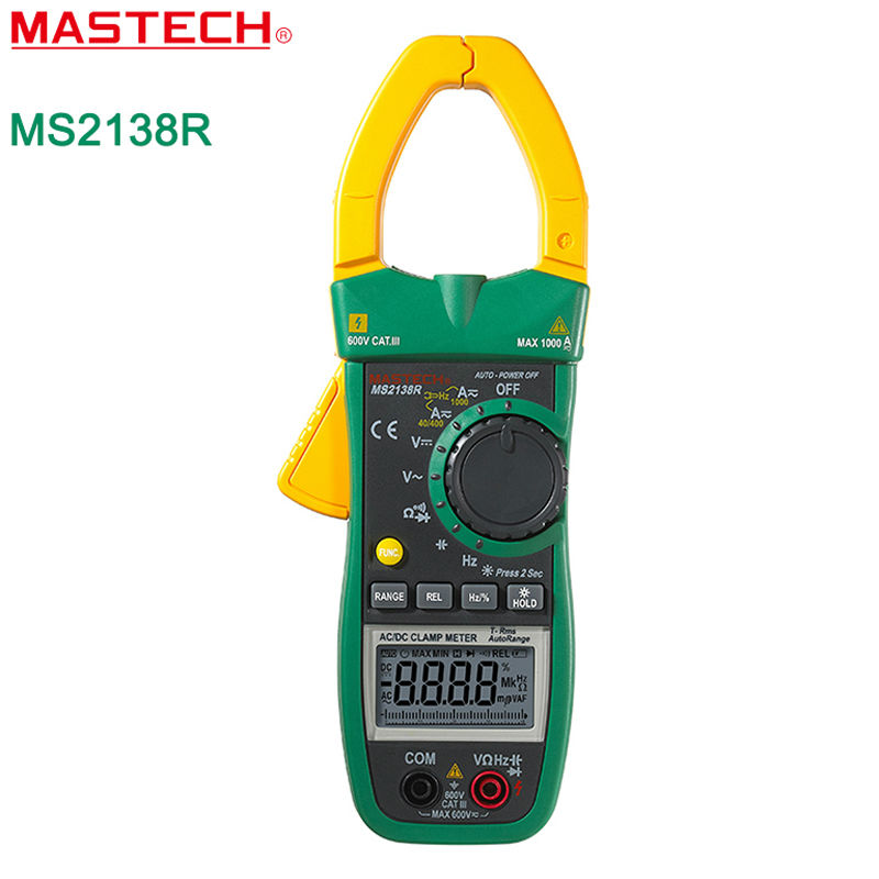ФОТО MASTECH MS2138R Digital  Clamp Meter 4000 Counts AC DC Voltage Current Capacitance Resistance Tester