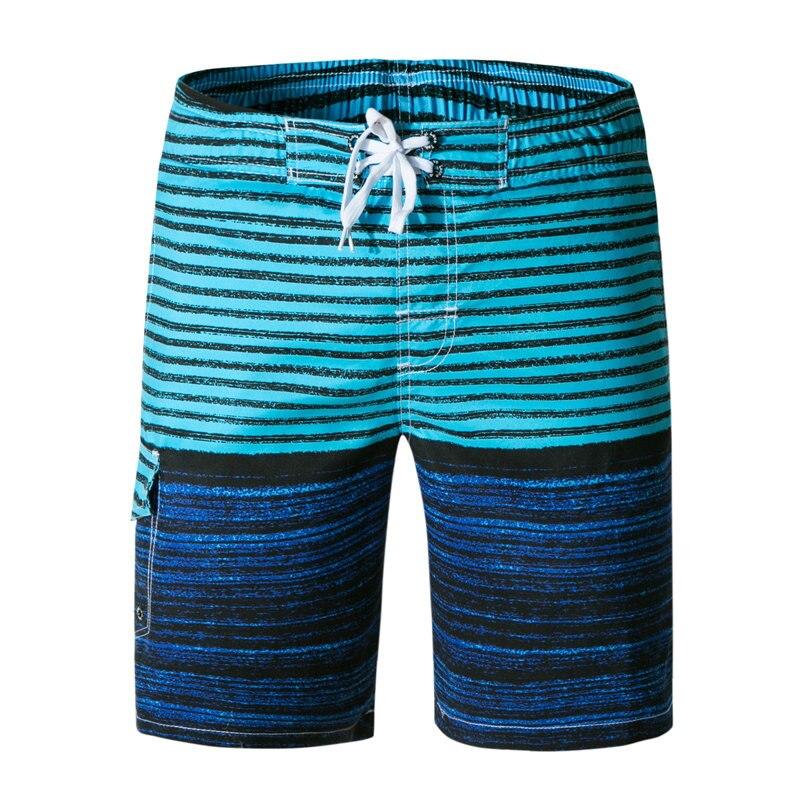 2018 Summer Style Casual Men   Shorts   Beach Stripe printing   Board     Shorts   Men Quick Drying Polyester Boardshorts plus size swimwear