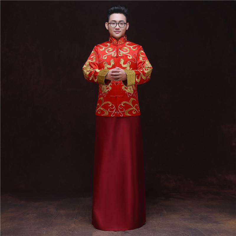 bridegroom wedding toast costumes male red cheongsam Chinese style groom dress jacket long gown traditional China