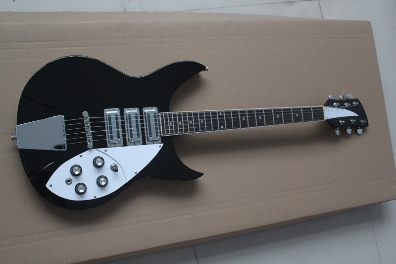 buy black rickenback 360 solid body 6 strings jazz electric guitar 3 pickups. Black Bedroom Furniture Sets. Home Design Ideas
