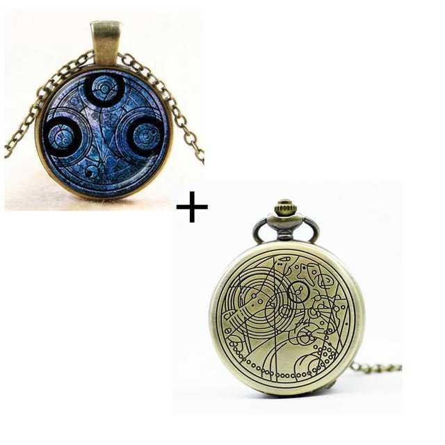 Reino Unido Doctor película que reloj de bolsillo los hombres de cuarzo colgante de collar de moda con caja de regalo de lujo de #120805