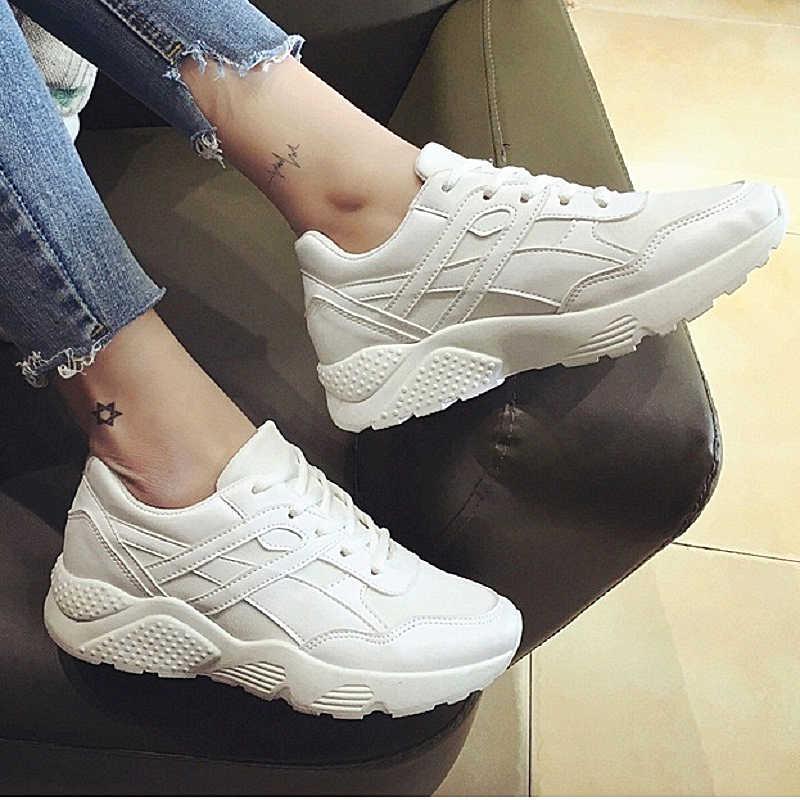 55d8207f ... 2018 модные кроссовки спортивные женская повседневная обувь из  сетчатого материала для девочек на танкетке парусиновая обувь ...
