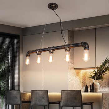 3 Head 5 Head Nordic Vintage Iron Pipe Decoration LED Creative Bedroom 5 Head Lamps Simple Living Room Dining Chandelier