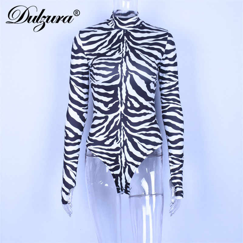 Dulzura zebra muster lange hülse frauen body high neck sexy dünne top Getäfelten 2018 herbst winter party mode festival körper
