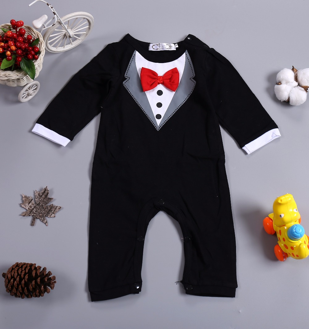 Newborn Baby Boys Rompers Spring & Autumn Long Sleeve Baby Clothes Black Little Man Bow tie Baby boy Jumpsuit One-pieces Outfit baby clothes new hot long sleeve newborn infantil boys kids costumn for rompers winter spring autumn boy clothing